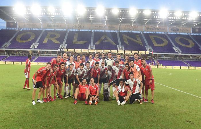 La foto final de la victoria de River sobre Independiente Medellín. Foto: Twitter