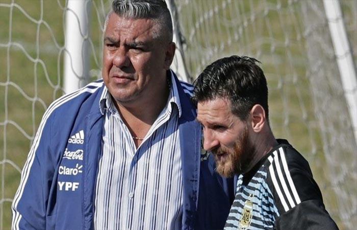 Claudio Tapia y Lionel Messi. Foto: Twitter