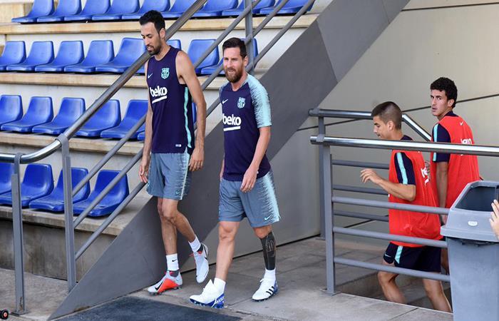 Lionel Messi ya entrena con el Barcelona. Foto: Twitter