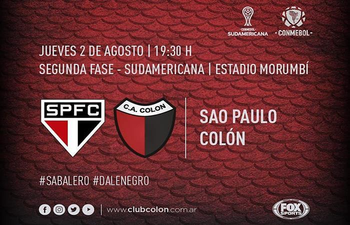 Colón de Santa Fe vs Sao Paulo EN VIVO ONLINE por la Copa Sudamericana