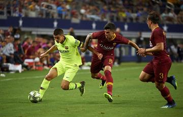 """La Roma """"se venga"""" y golea al Barcelona con un gol de Diego Perotti"""