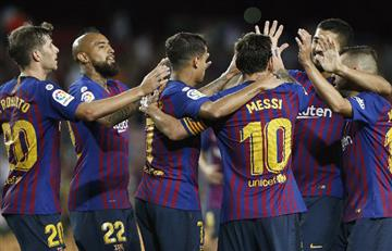 Barcelona con el brillo de Lionel Messi consiguió su primer triunfo en La Liga