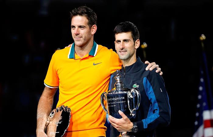 Novak Djokovic y Juan Martín del Potro. Foto: Twitter