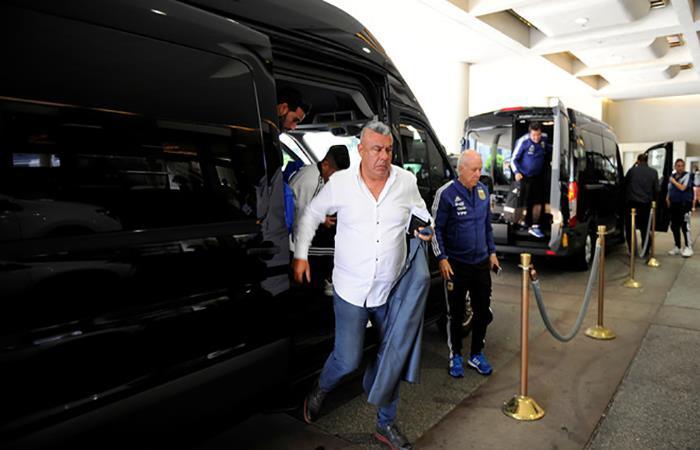 Claudio Tapia a su llegada a Ezeiza. Foto: Twitter