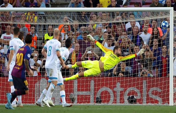 Lionel Messi y un golazo en la primera jornada de la Champions. Foto: EFE