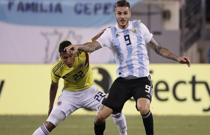 Mauro Icardi durante el partido ante Colombia. Foto: AFP
