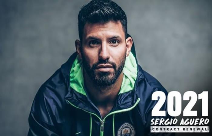 Sergio Agüero renovó con el Manchester Coty. Foto: Twitter