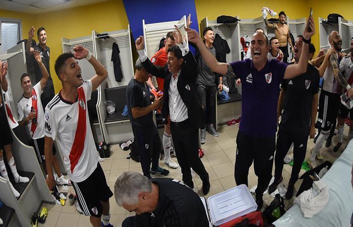 River Plate celebró en el Superclásico. Foto: Twitter