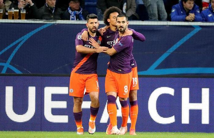 Sergio Agüero celebrando su gol. Foto: EFE