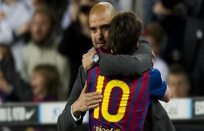 Guardiola y Messi en el Barcelona. Foto: EFE