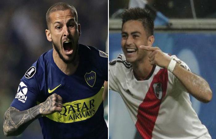 Darío Benedetto y 'Pity' Martínez, dos figuras de Boca y River. Foto: AFP