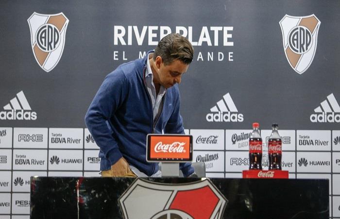 Marcelo Gallardo en conferencia. (Foto: Twitter)