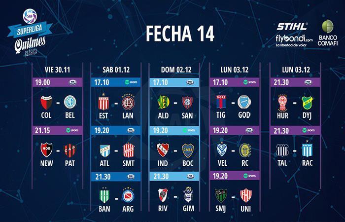 Superliga: conocé la programación de la fecha 14