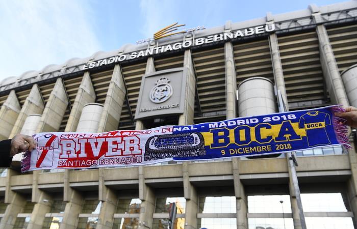 River y Boca disputan la final de la Copa Libertdores este domingo 9 en el Santiago Bernabéu. Foto: AFP