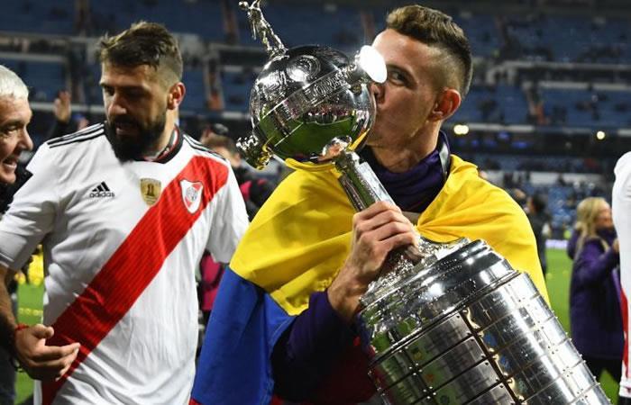 El delantero colombiano de River, Rafa Santos Borré. Foto: AFP.