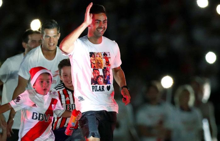 El Pity Martínez en la celebración del título de Copa Libertadores con River Plate. Foto: EFE