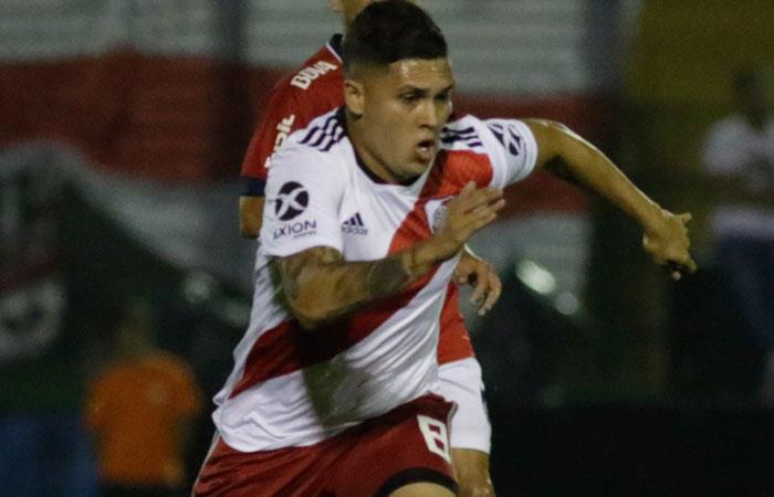 Juan Fernando Quintero fue uno de los destacados en el partido ante Unión de Santa Fe. Foto: EFE