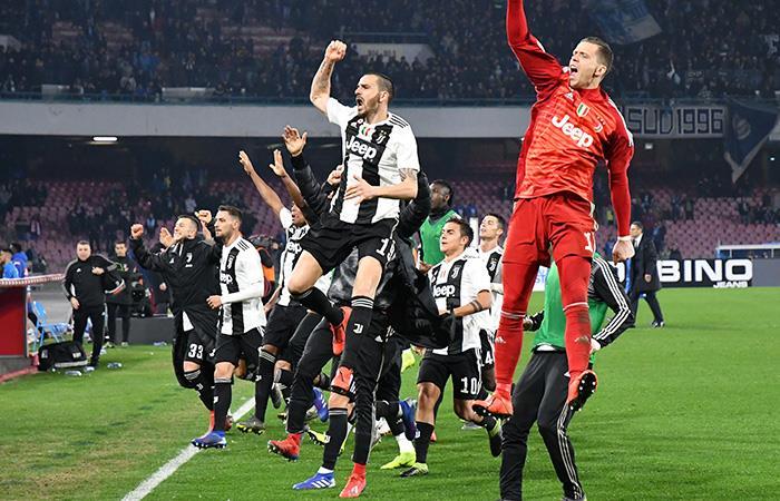 La celebración de la Juve post victoria. Foto: AFP