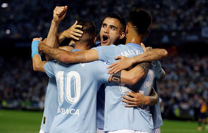 Festejo de gol del Celta. Foto: EFE