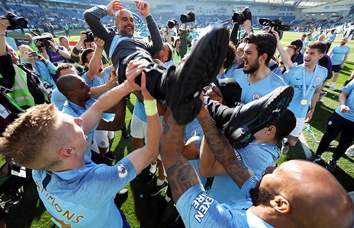La celebración del City. (Foto: EFE)