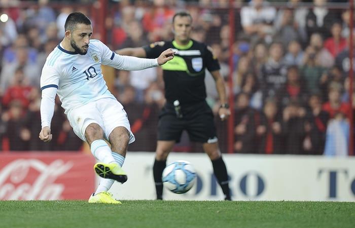 Matías Vargas anotó uno de los goles de Argentina en el 3 a 1 sobre Colombia. Foto: Twitter