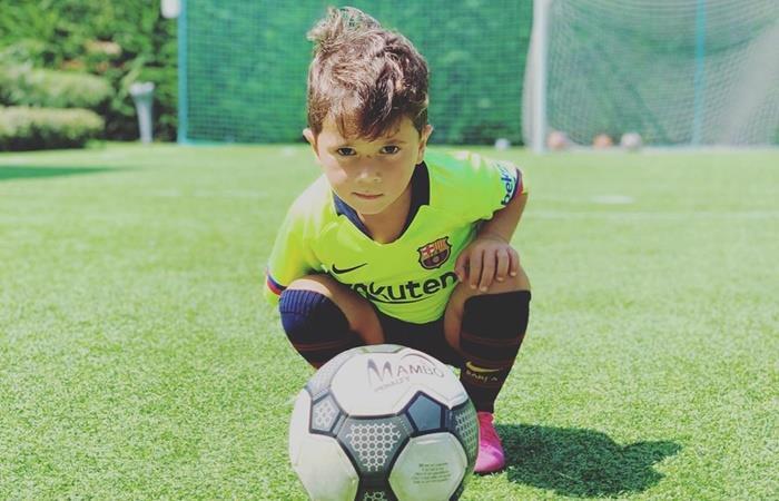 Mateo Messi cumple 4 años a puro goles. Foto: Instagram Antonela Roccuzzo