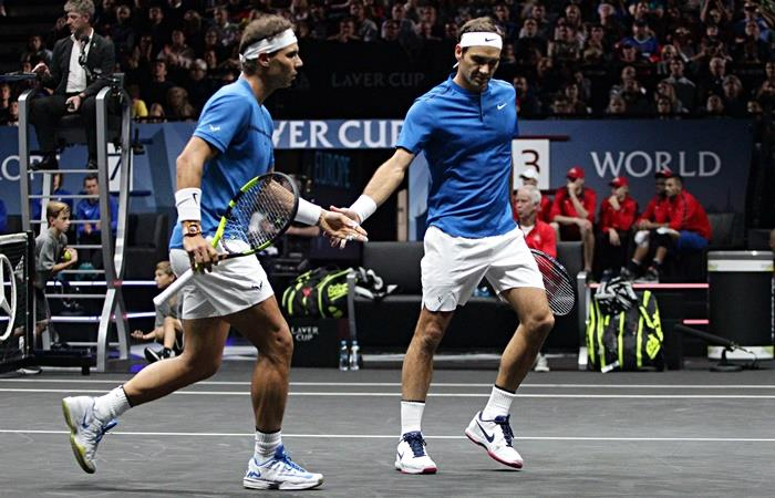 La chance de Rafael Nadal y Roger Federer en el Santiago Bernabeú. Foto: EFE