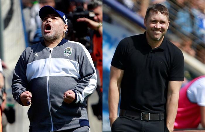 El cruce entre Maradona y Coudet en La Plata. Foto: EFE