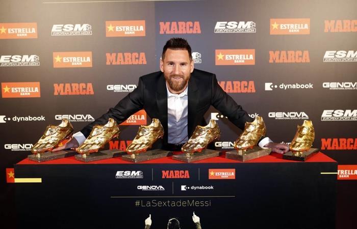 Lionel Messi recibió su sexta Bota de Oro. Foto: Twitter Barcelona