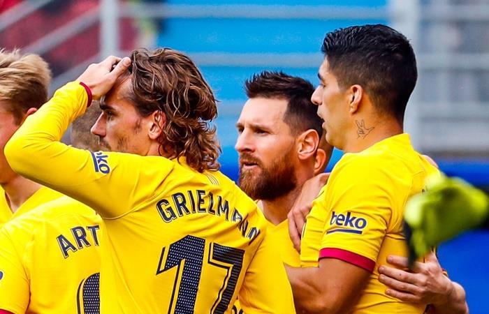 Barcelona derrotó a Eibar con goles de Messi, Suárez y Griezmann. Foto: Twitter