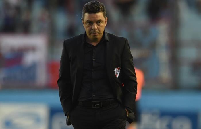 Marcelo Gallardo no habló en conferencia de prensa en Sarandí. Foto: Twitter River