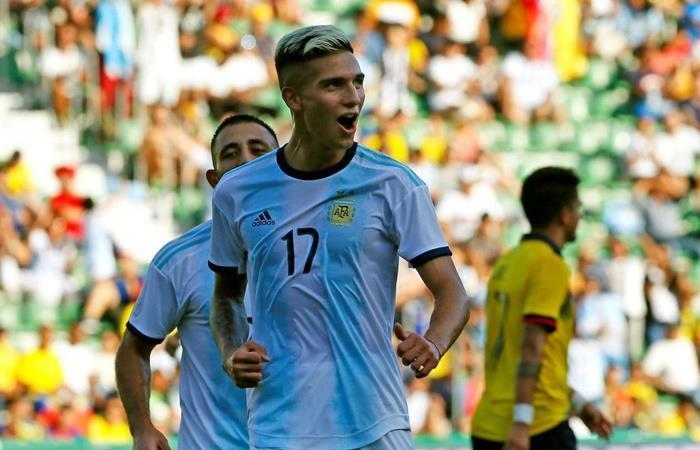 Nicolás Dominguez, el último del fútbol argentino en marcar con la Selección. Foto: Twitter