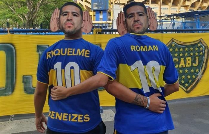 Los hinchas de Boca no pudieron entrar a la cancha con caretas de Riquelme. Foto: Twitter
