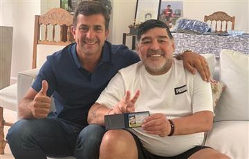Gribaudo junto a Maradona en la previa de las elecciones en Boca
