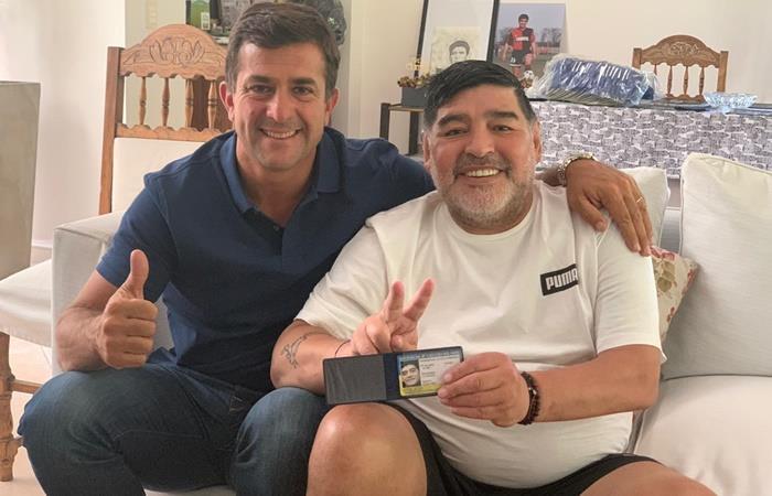 Christian Grbaudo y Diego Maradona juntos en la previa de las elecciones. Foto: Twitter