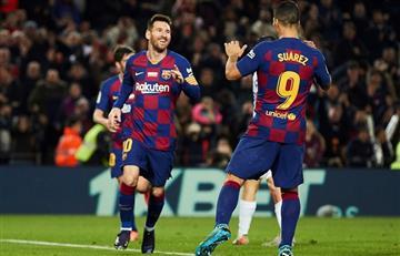 Tres de Messi y un épico taco de Suárez en la goleada de Barcelona