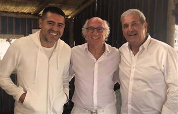 Juan Román Riquelme y Carlos Bianchi reunidos en la fiesta del Virrey