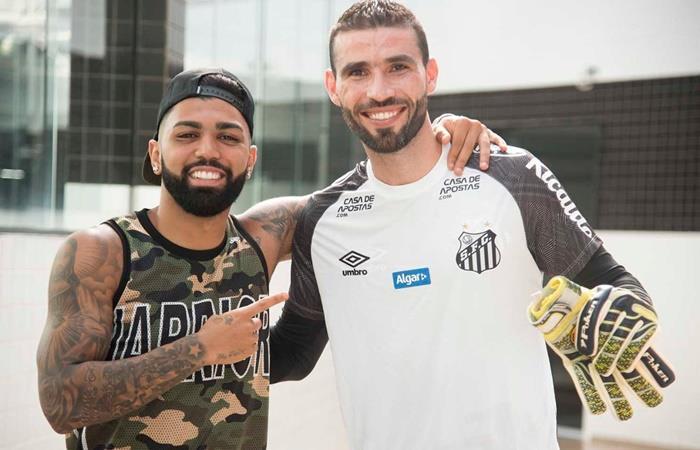 Gabigol dijo presente en el entrenamiento de Santos. Foto: Twitter