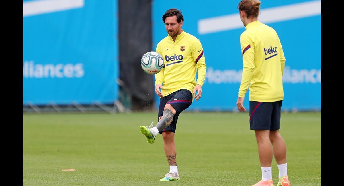 Messi cumplió al 100% el entrenamiento de este 11 de junio. Foto: Club FC Barcelona