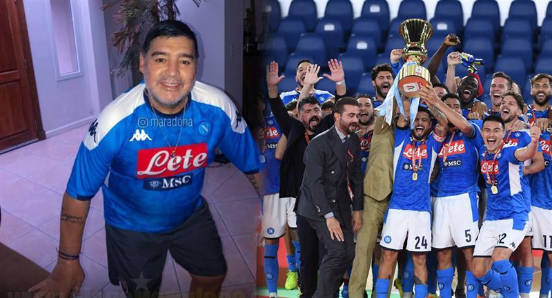 Diego Armando Maradona no ocultó su alegría al conocer el título de Nápoli. Foto: Instagram - maradona / Agencia EFE
