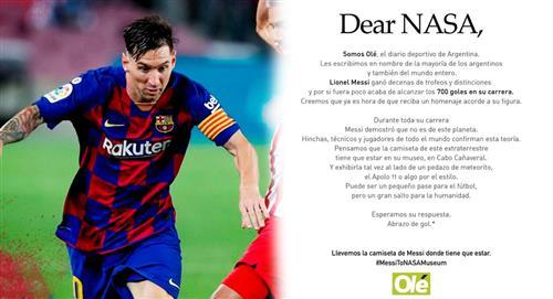 Lionel Messi llegó a 700 goles y Diario Olé pide su camiseta en el Museo de la NASA