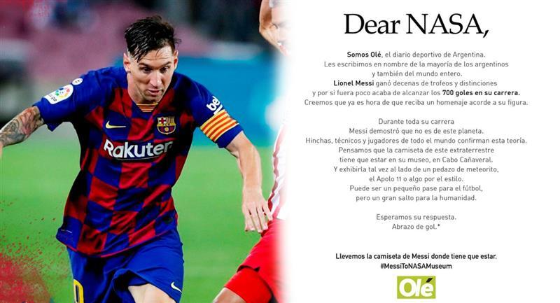 El pedido expreso del Diario Olé a la NASA. Foto: Club FC Barcelona / Twitter