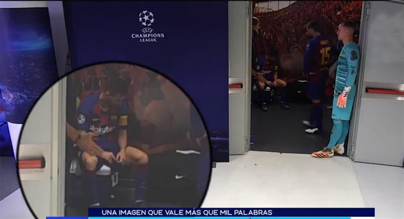 Messi desolado tras derrota parcial ante Bayern. Foto: Twitter FOX Sports (Captura de video)