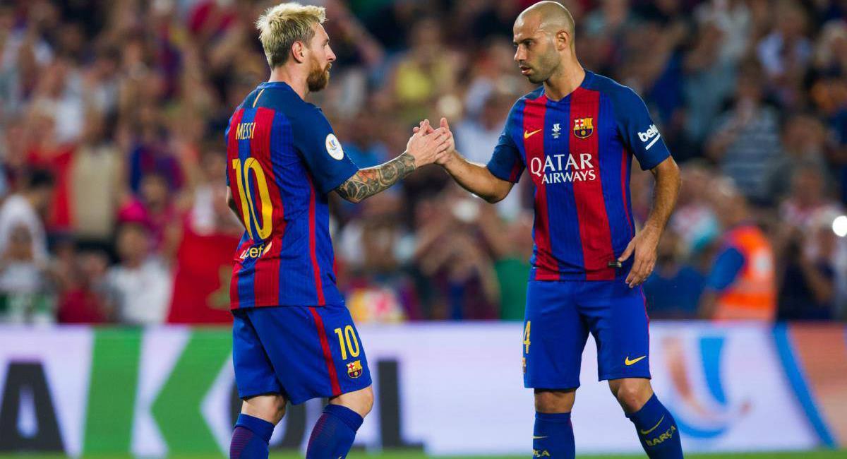 Javier Mascherano feliz por permanencia de Messi en Barcelona. Foto: Twitter Difusión