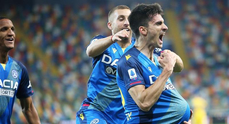 Ignacio Pussetto celebrando su gol con Udinese. Foto: EFE