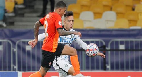 Lautaro Martínez no pudo ante el Shakhtar Donetsk en la Champions League
