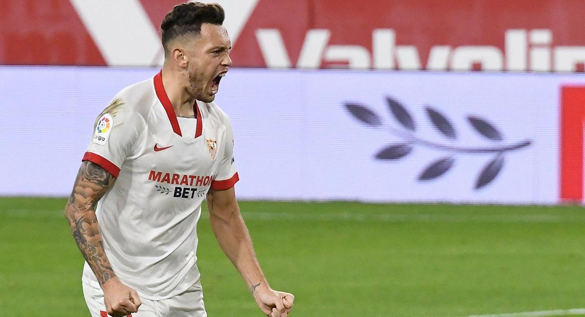 Lucas Ocampos marcó el único gol de Sevilla a los 56 minutos. Foto: Twitter @SevillaFC