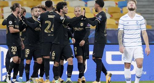 Barcelona de Lionel Messi goleó 4-0 a Dinamo Kiev y avanza en la Champions League