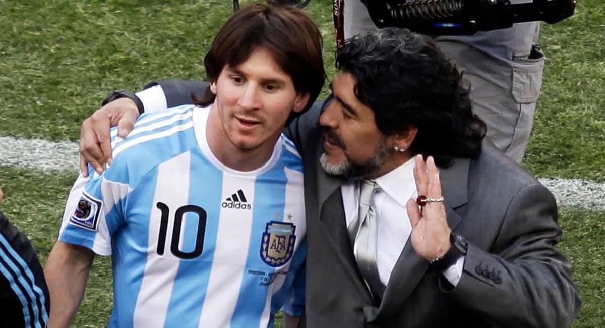 Diego Maradona dirigió a Lionel Messi en la Selección Argentina. Foto: Twitter Difusión