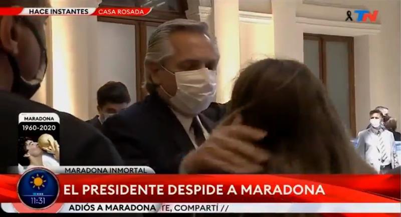 Alberto Fernández se despidió de Diego Maradona. Foto: Captura YouTube